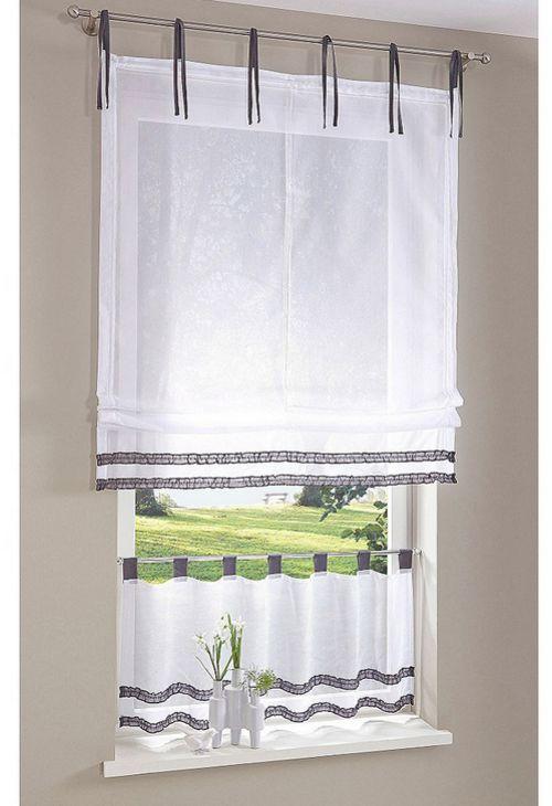 raffrollo 80 120 x 140 wei grau transparent vorhang rollo bindeb nder neu ebay. Black Bedroom Furniture Sets. Home Design Ideas