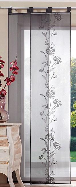 2 st schiebegardine schiebevorhang 57 x 225 grau bestickt. Black Bedroom Furniture Sets. Home Design Ideas