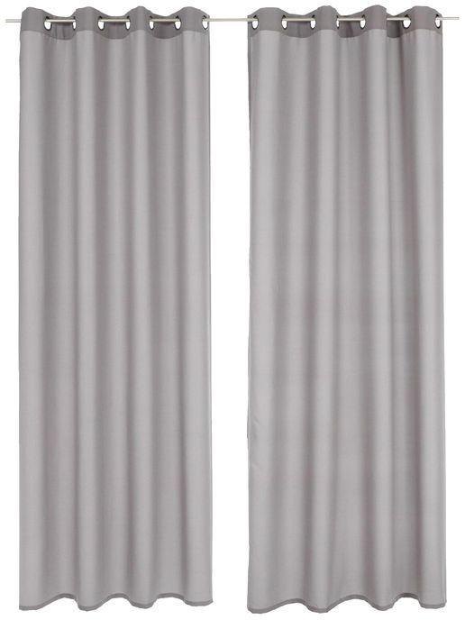 2 st vorhang gardine 140 x 175 silber grau deko schal blickdicht sen neu ebay. Black Bedroom Furniture Sets. Home Design Ideas