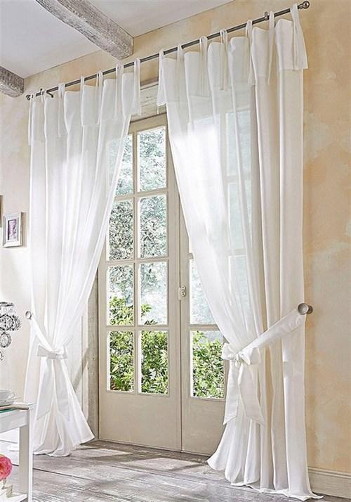 2 gardinen je 145x245 creme halbtransparent store schal vorhang bindeb nder neu ebay. Black Bedroom Furniture Sets. Home Design Ideas
