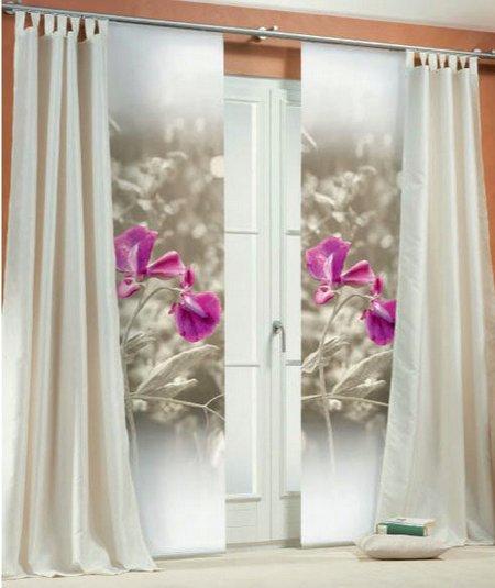 2 st schiebegardine 60 x 260 natur pink blume digital druck blickdicht neu ebay. Black Bedroom Furniture Sets. Home Design Ideas