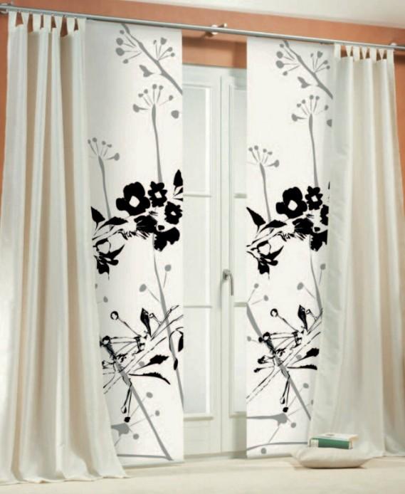 1 st schiebegardine 60 x 260 wei schwarz schiebevorhang fl chenvorhang neu ebay. Black Bedroom Furniture Sets. Home Design Ideas