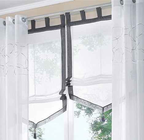 1 st raffrollo raff rollo 80 x 140 wei grau flauschband transparent voile neu ebay. Black Bedroom Furniture Sets. Home Design Ideas