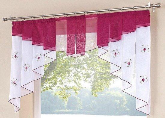 1 st kurzstore scheibengardine 120 x 125 wei pink bestickt panneaux voile neu ebay. Black Bedroom Furniture Sets. Home Design Ideas