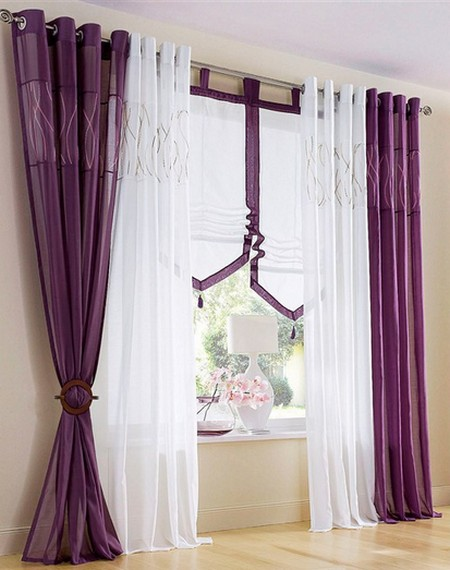 1 st gardine store vorhang 140 x 245 lila bestickt kr uselband schal neu ebay. Black Bedroom Furniture Sets. Home Design Ideas