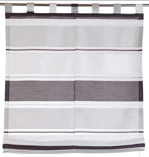 1 st raffrollo rollo 120 x 160 anthrazit wei voile seidenoptik schlaufen neu ebay. Black Bedroom Furniture Sets. Home Design Ideas