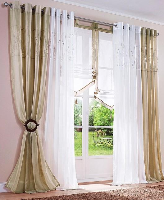 1 st gardine vorhang store schal 140 x 175 sand beige sen. Black Bedroom Furniture Sets. Home Design Ideas