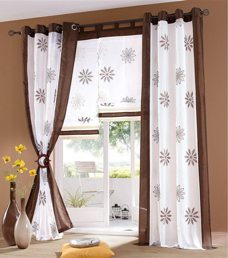1 st raffrollo rollo voile 140 x 140 wei braun blume bestickt transparent neu ebay. Black Bedroom Furniture Sets. Home Design Ideas