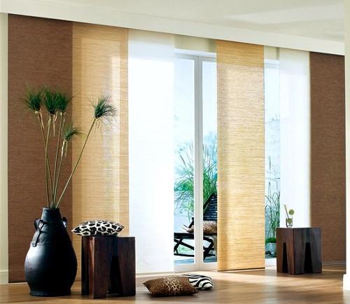 2 st schiebegardine schiebevorhang bambus 57 x 245 braun. Black Bedroom Furniture Sets. Home Design Ideas