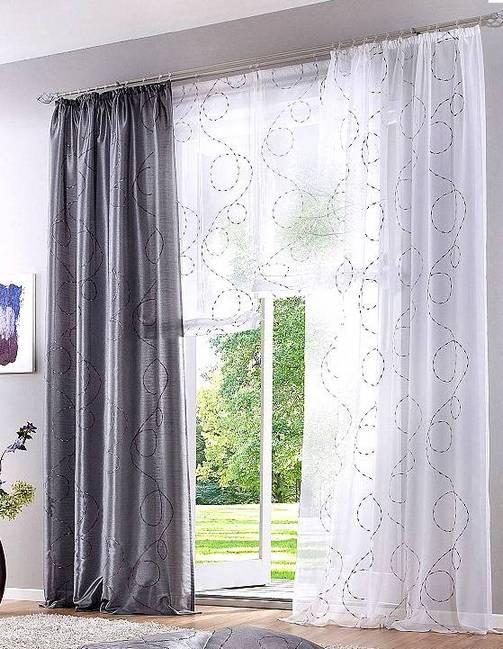 1x raffrollo 80 x 140 wei grau bestickt rollo voile transparent schlaufen neu ebay. Black Bedroom Furniture Sets. Home Design Ideas