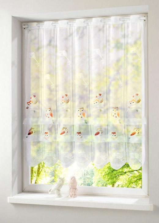 1x jaquard clipstore 60 x 120 weiss bunt eulenmotiv clip vorhang tunnelzug neu ebay. Black Bedroom Furniture Sets. Home Design Ideas