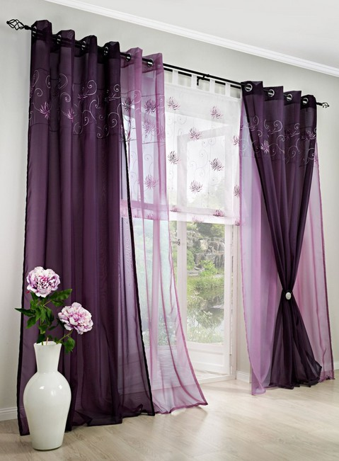 1 st voile scarf 140 x 145 plum purple opaque eyelet curtain curtain new ebay. Black Bedroom Furniture Sets. Home Design Ideas