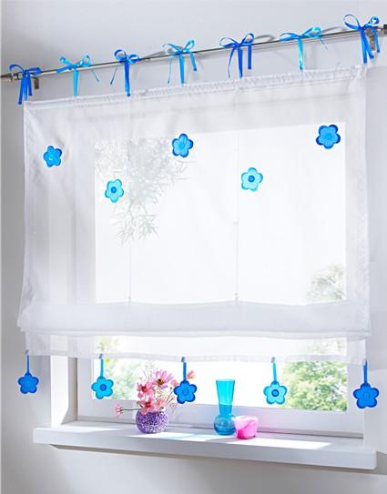 1 st raffrollo voile 80 x 140 weiß blau blumen bindebÄnder