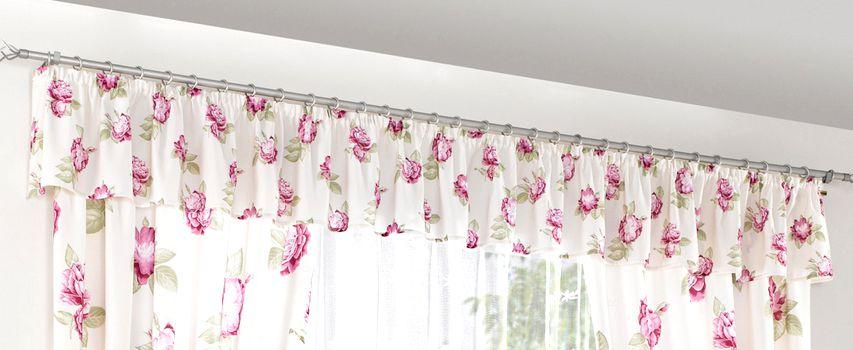 1 st querbehang 30 x 500 sand rosa gr n freihandbogen for Fenster querbehang