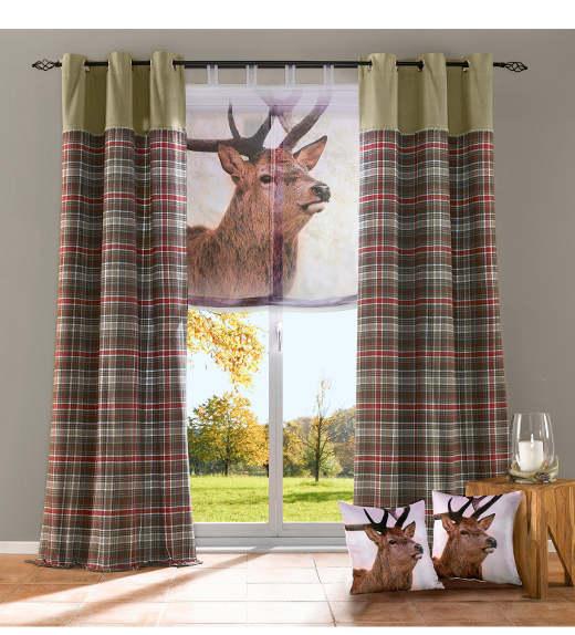 2 st raffrollo 60 120 x 140 braun fotodruck hirsch rollo. Black Bedroom Furniture Sets. Home Design Ideas