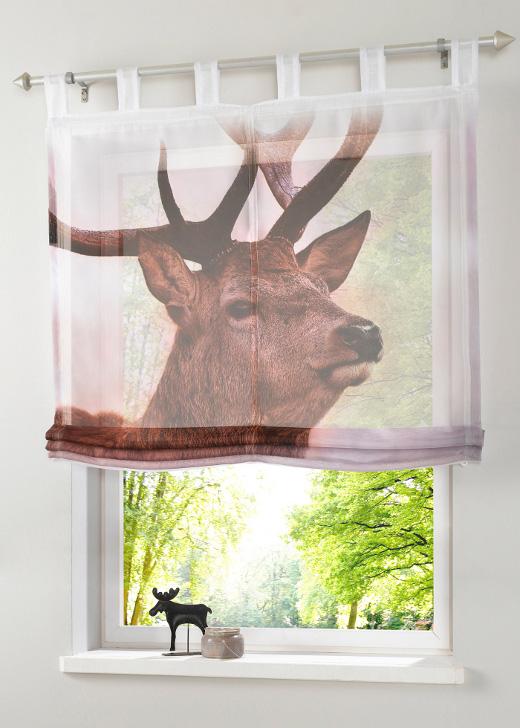 2 st raffrollo 45 90 x 140 braun fotodruck hirsch rollo. Black Bedroom Furniture Sets. Home Design Ideas