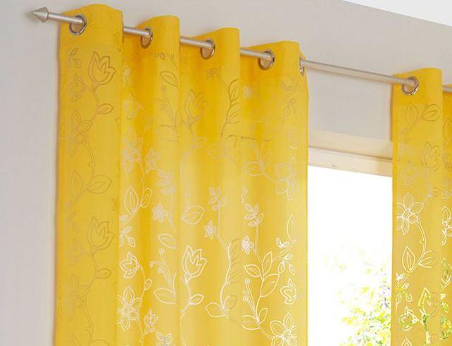 2 st vorhang 140 x 145 senf gelb ausbrenner store gardine. Black Bedroom Furniture Sets. Home Design Ideas