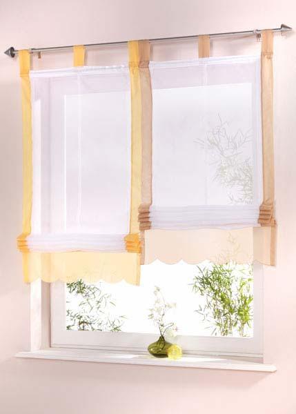 1 st raffrollo raff rollo voile 43 x 158 wei gelb transparent schlaufen neu ebay. Black Bedroom Furniture Sets. Home Design Ideas