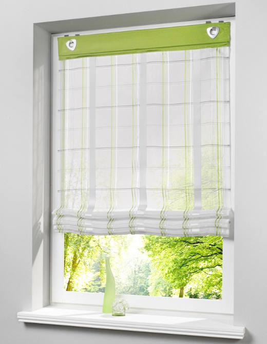 1 st raffrollo 120 x 140 wei gr n transparent karo vorhang sen haken neu. Black Bedroom Furniture Sets. Home Design Ideas