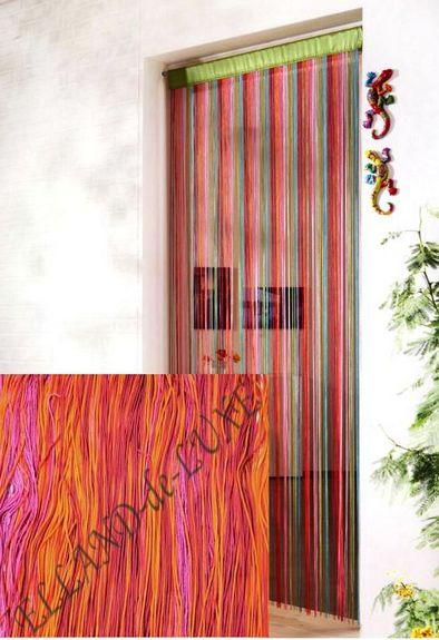 1 st fadenstore 100 x 225 orange lila streifen gardine fadenvorhang tunnel neu ebay. Black Bedroom Furniture Sets. Home Design Ideas