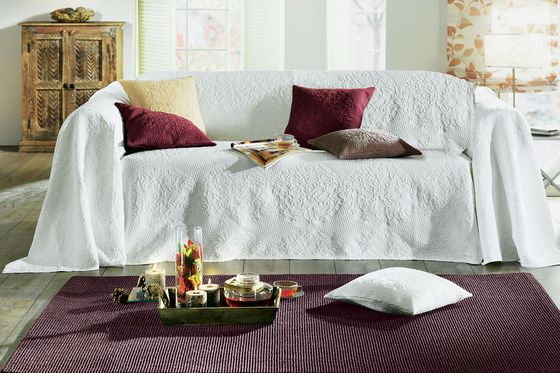 tagesdecke sofa berwurf 250 x 270 jacquard creme wei berwurf neu ebay. Black Bedroom Furniture Sets. Home Design Ideas