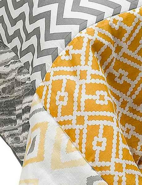 tagesdecke 140 x 210 grau gelb bunt patchwork heine wohndecke bett berwurf neu. Black Bedroom Furniture Sets. Home Design Ideas
