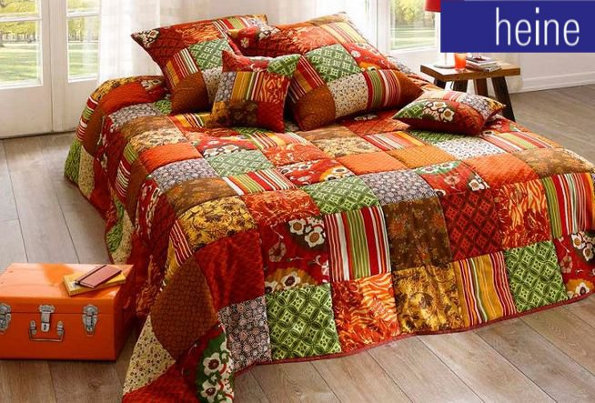 1 st tagesdecke 210 x 280 bunt terra gr n patchwork wohndecke bett berwurf neu ebay. Black Bedroom Furniture Sets. Home Design Ideas