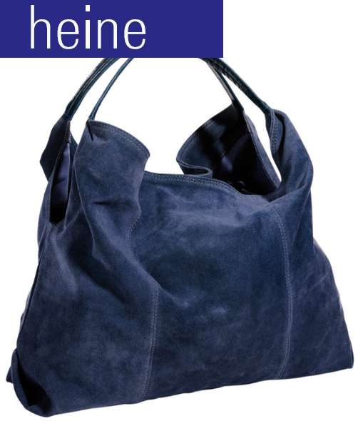 rind velours leder beutel dunkel blau von heine damen tasche schultertasche neu ebay. Black Bedroom Furniture Sets. Home Design Ideas