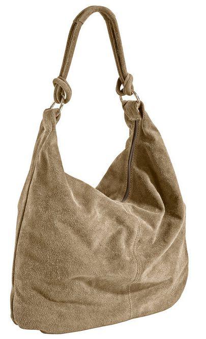 rind velours leder tasche sand beige beuteltasche beutel damen handtasche neu ebay. Black Bedroom Furniture Sets. Home Design Ideas